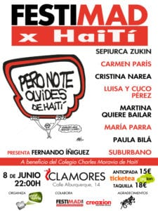 Concierto FestiMAD x Haití | Sala Clamores | Madrid | 08/06/2018 | 22:00 h | Cartel