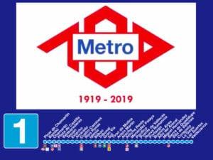 Sistema PATO se completa en línea 1 de Metro | Estaciones línea 1 y logo del centenario de Metro de Madrid (1919-2019)