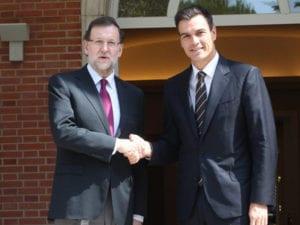 Pedro Sánchez nuevo presidente del Gobierno de España | Mariano Rajoy (PP) y Pedro Sánchez (PSOE) | Palacio de la Moncloa 2014