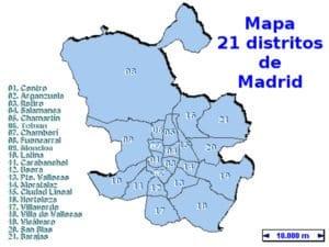 Mapa de los 21 distritos de Madrid | Fuente Gerencia Municipal de Urbanismo del Ayuntamiento de Madrid