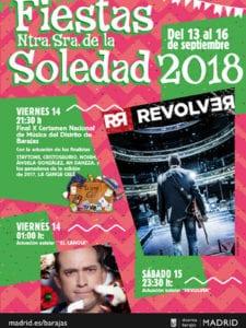 Fiestas de Barajas 2018 | Nuestra Señora de la Soledad | 13-16/09/2018 | Barajas | Madrid | Cartel conciertos destacados