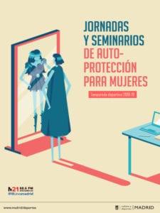 Jornadas y Seminarios de Autoprotección para Mujeres | Temporada 2018-2019 | Ayuntamiento de Madrid - Federación Madrileña de Lucha | Cartel