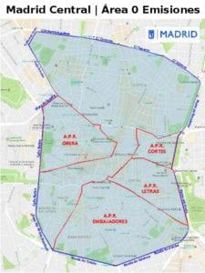 Plano de Madrid Central | Área 0 Emisiones