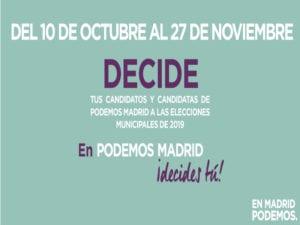 Podemos Madrid | Primarias elecciones municipales 2019 | Ayuntamiento de Madrid | Cartel
