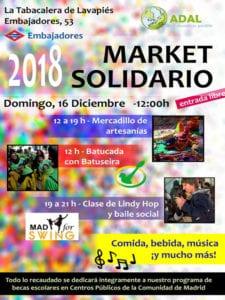 Market Solidario 2018 | ADAL Otro mundo es posible | 16/12/2018 | La Tabacalera de Lavapiés | Embajadores | Madrid | Cartel