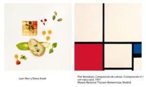 El Thyssen en el plato | Arte y cocina | Museo Nacional Thyssen-Bornemisza | Madrid | Juan Mari y Elena Arzak | 'Composición de colores' (1931) | Piet Mondrian