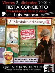 Luis Farnox presenta libro y disco en Vallekas | 21/12/2018 | 'La Esquina del Zorro' | Puente de Vallecas (Madrid) | Cartel