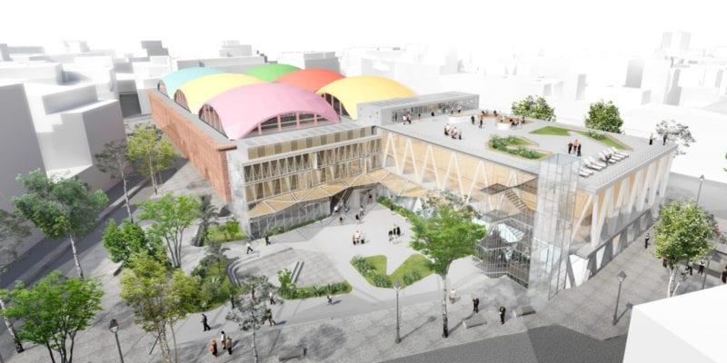 Polideportivo La Cebada: paso final | Plaza de la Cebada | Barrio de La Latina | Centro | Madrid | Vista ideal del mercado y del polideportivo