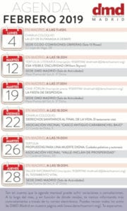 Agenda DMD Madrid Febrero 2019 | Derecho a Morir Dignamente | Infografía