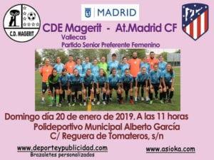 CDE Magerit versus Club Atlético de Madrid Femenino | 20/01/2019 | Polideportivo Municipal Alberto García | Puente de Vallecas | Madrid | Cartel
