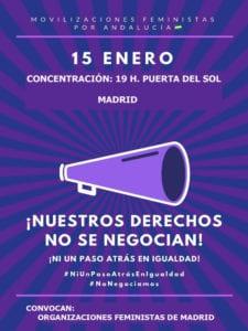 ¡Nuestros derechos no se negocian! ¡Ni un paso atrás en igualdad! | Movilizaciones feministas por Andalucía | Concentración 15/01/2019 (19:00 h) | Puerta del Sol | Asociaciones Feministas de Madrid | Cartel