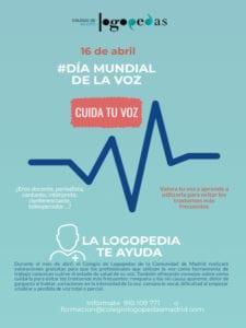 Cuida tu voz | Día Mundial de la Voz | 16/04/2019 | Colegio de Logopedas de la Comunidad de Madrid | Cartel