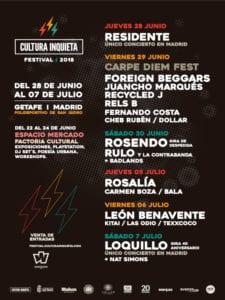 Fiesta de presentación Cultura Inquieta Festival 2019 | Joy Eslava Madrid | 25/04/2019 | Cartel Festival Cultura Inquieta 2019